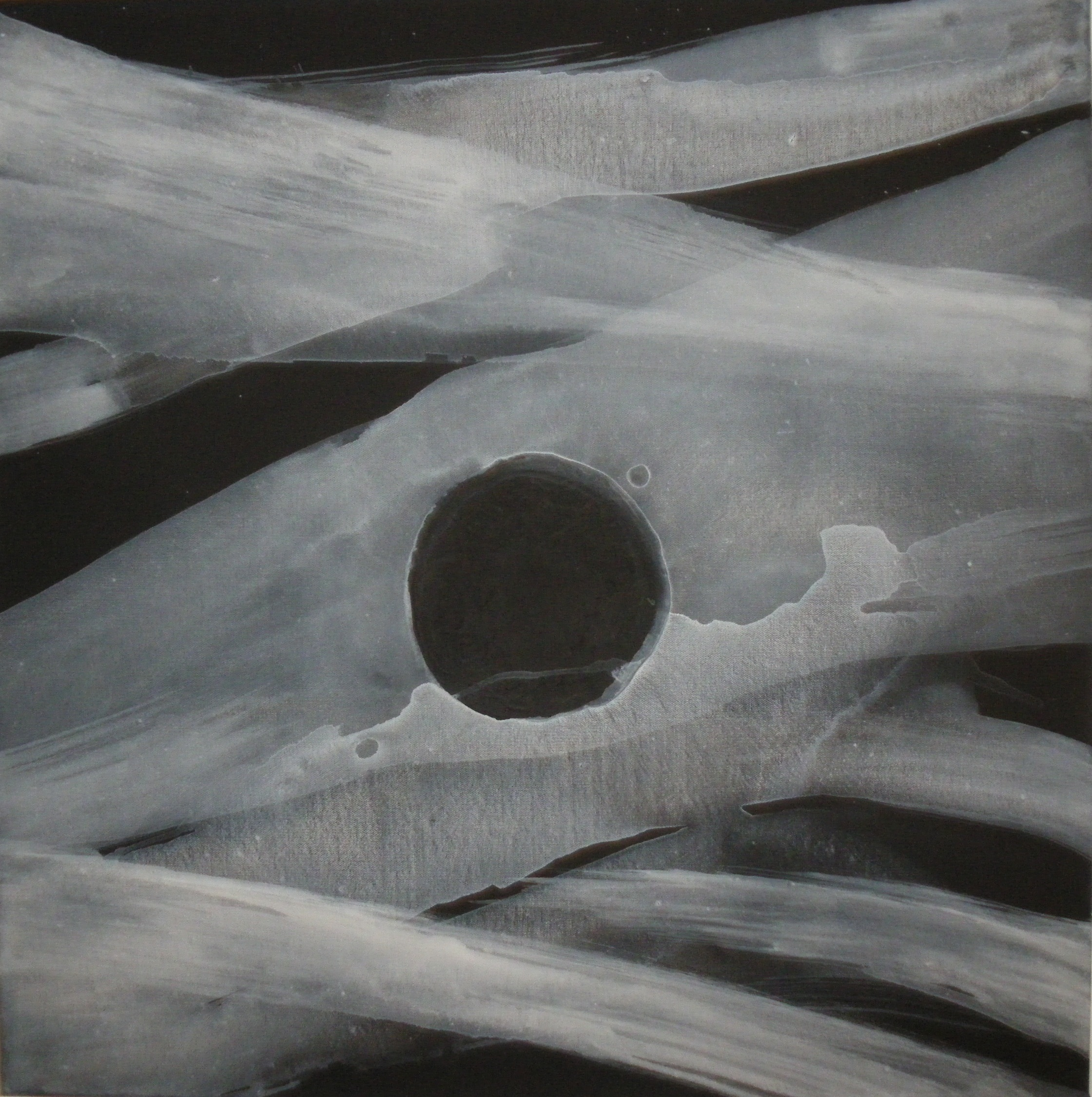 'Mystery Planet' (2014) black & white primer on canvas(76 x 76cm) - after lantern