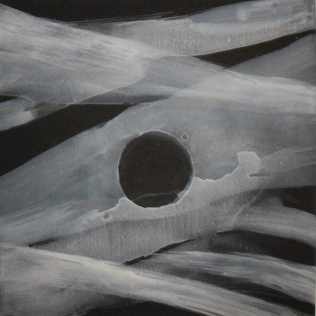 'Mystery Planet' (2014) black & white primer on canvas(76 x 76cm) - after lantern